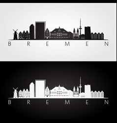 Bremen skyline and landmarks silhouette vector