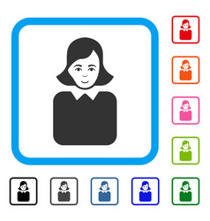 bureaucrat woman framed enjoy icon vector image