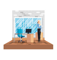 Businesswoman calling with smartphone in office vector