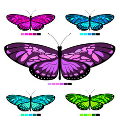 butterfly set 6 vector image