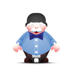 cartoon old man in bowler hat and with bow tie vector image