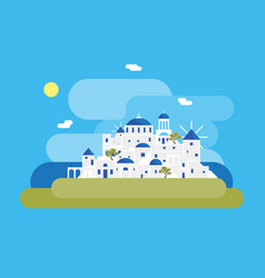 cartoon santorini island village vector image