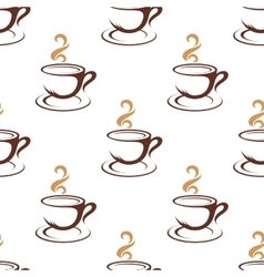 Coffee seamless pattern with cappuccino cups vector