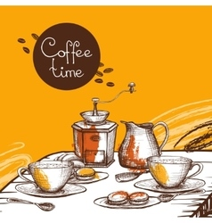 Coffee time background poster vector