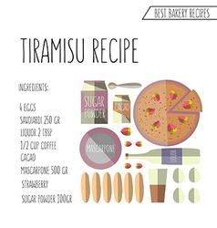 Colorful flat design style tiramisu recip vector