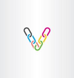 colorful v letter v chain link logo icon vector image