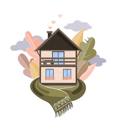 cozy house wrapped in scarf on forest vector image