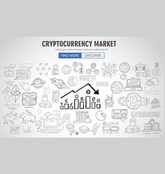 Cryptocurrency concept hand drawn business doodle vector