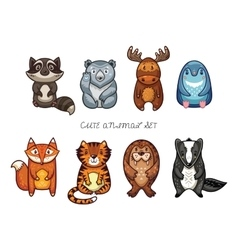 Cute animal set with cartoon characters vector image