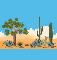 Desert pattern with joshua trees opuntia vector