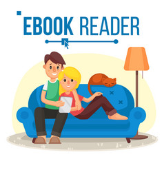 e-book reader e-learning couple at home vector image