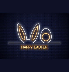 Easter neon banner easter bunny with egg neon vector