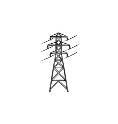 electrical power line hand drawn outline doodle vector image