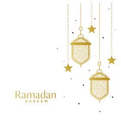 Elegant islamic lamps and star ramadan background vector