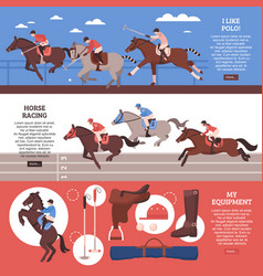 Equestrian sport horizontal banners vector