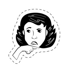 face woman female black and white vector image
