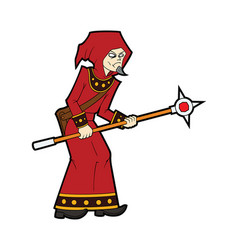 Fantasy battle mage with a staff vector