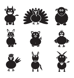 farm animals simple icons set eps10 vector image