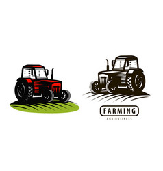 Farm tractor logo or label agriculture farming vector