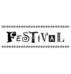Festival in black decorated with ornament vector