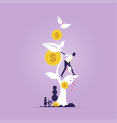 financial growth concept growing money tree vector image
