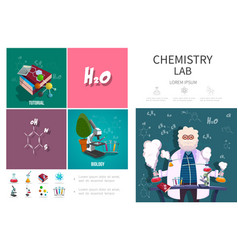 Flat chemistry lab infographic concept vector