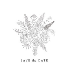 floral bouquet for save the date wedding vector image