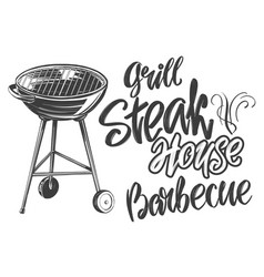 food meat steak roast grilled calligraphic text vector image