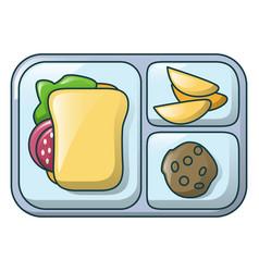 gamburger on tray icon cartoon style vector image