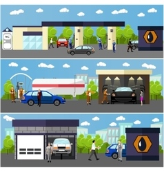 Gas station car wash and repair shop concept vector