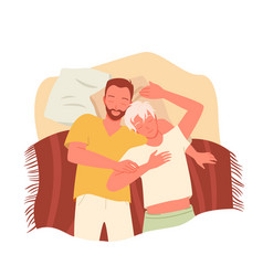 Gay couple people sleep together at night happy vector