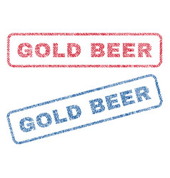 Gold beer textile stamps vector
