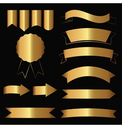 gold contour icons vector image