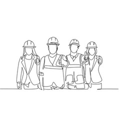 great team work concept one line drawing young vector image