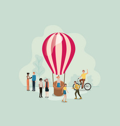group of people with balloon air hot flying vector image