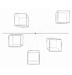 Hand drawn cubes with shadows in perspective vector