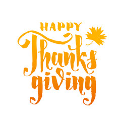 happy thanksgiving hand writting lettering vector image