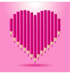 Heart of pink pencils background Valentines Day vector