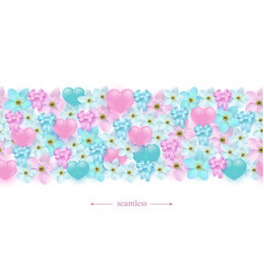 hearts flowers and ribbon bows horizontal vector image