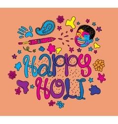 Holi festival greeting card Hand drawn vector