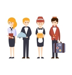 Hotel Staff Waiter Bellhop Administrator And vector