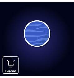 icons with Neptune and astrology symbol of planet vector image