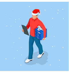 isometric online christmas shopping delivery man vector image