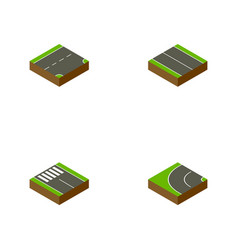 Isometric way set of way strip down and other vector