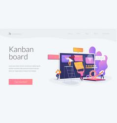 Kanban board landing page concept vector