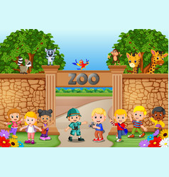 kids playing at the zoo with zookeeper and animal vector image