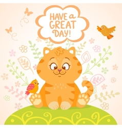 kitten and birds vector image vector image