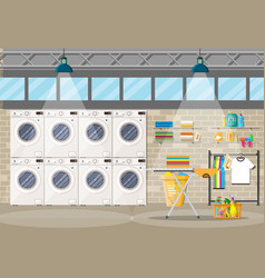 laundry room interior with washing machine vector image
