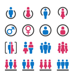 man and woman icon set vector image