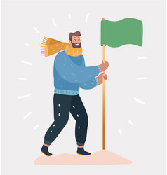 man with flag on a white background vector image